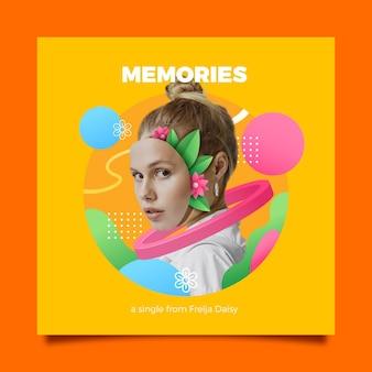 Capa de música quadrada com colagem retrô