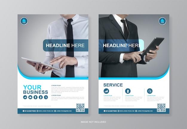 Capa de negócios corporativos e página traseira a4 modelo de designer de folheto