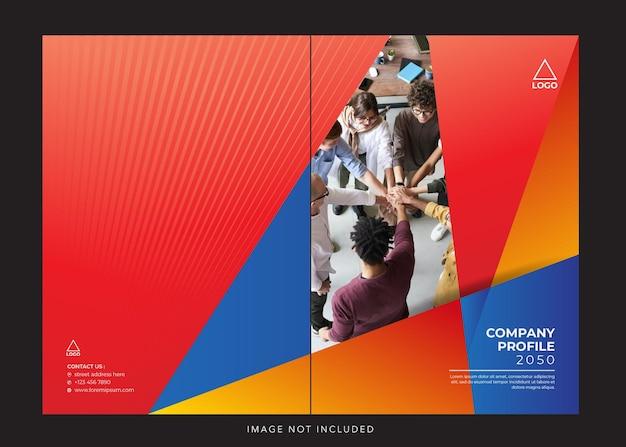 Capa de perfil corporativo em vermelho azul Vetor Premium