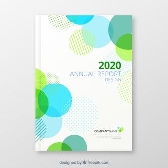 Capa de relatório anual com formas circulares