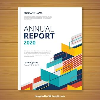 Capa de relatório anual com formas geométricas