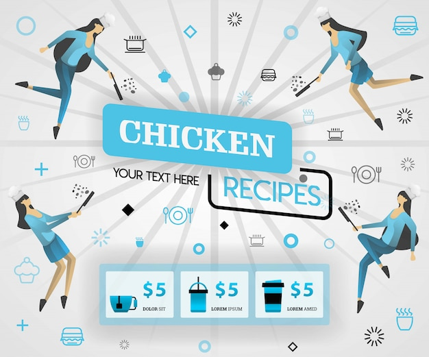 Capa de revista de comida azul para receitas de frango