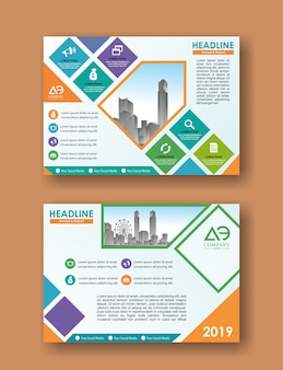 Capa de revista de folheto de vetor & modelo de cartaz