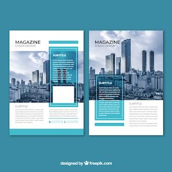 Capa de revista de negócios com imagem