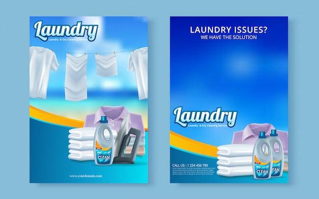 Capa de revista de panfleto de serviço de lavanderia de vetor, modelo de cartaz