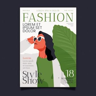 Capa de revista detalhada de moda