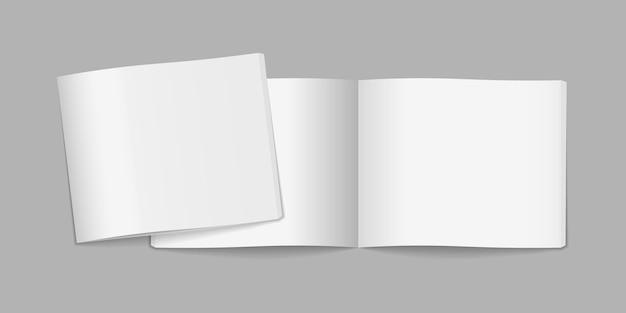 Capa de revista voadora em branco isolada em cinza