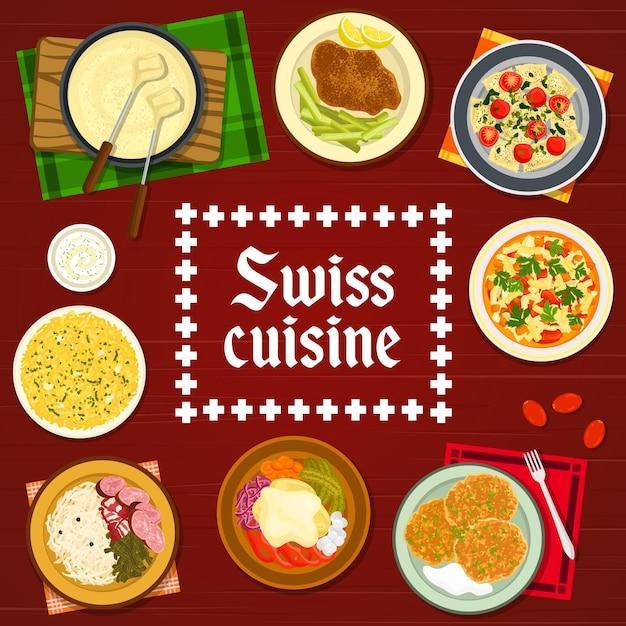 Capa de vetor de menu de pratos de restaurante de comida suíça