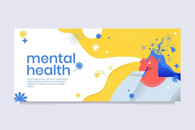 Capa detalhada do facebook sobre saúde mental Vetor grátis