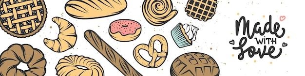 Capa do banner horizontal da padaria desenho de letras com bolo de pão, torta, pães e doces queque