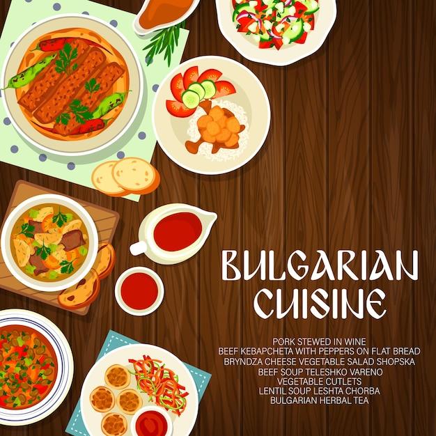 Capa do cardápio de cozinha búlgara