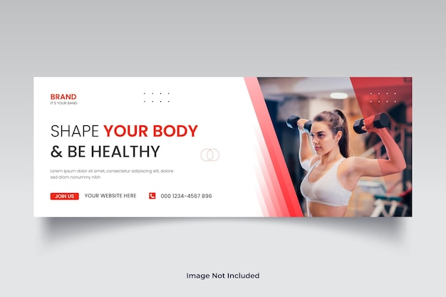 Capa do cronograma do facebook ou modelo de banner da web de mídia social para exercícios de fitness e ginástica