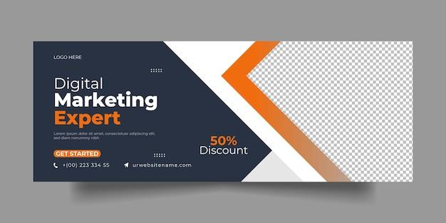 Capa do facebook corporativo e postagem nas redes sociais de marketing digital moderno