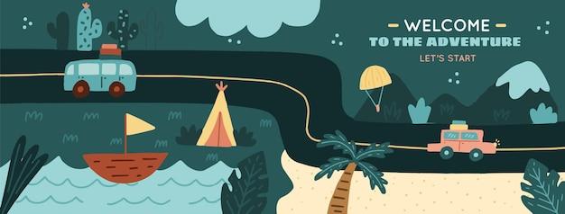 Capa do facebook da aventura desenhada à mão