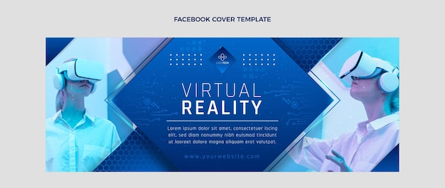 Capa do facebook da tecnologia de textura gradiente