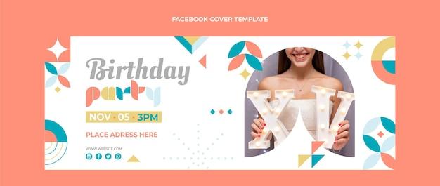 Capa do facebook de aniversário em mosaico estilo simples
