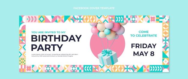 Capa do facebook de aniversário em mosaico plano