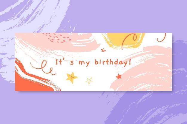 Capa do facebook de aniversário infantil com pintura abstrata