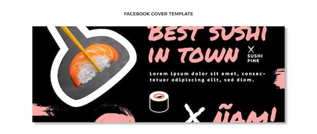 Capa do facebook de comida asiática com design plano