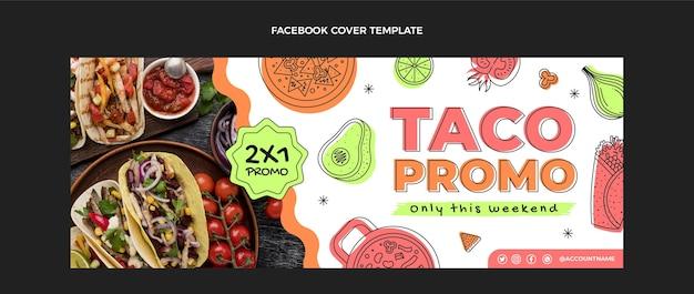 Capa do facebook de comida mexicana com design plano