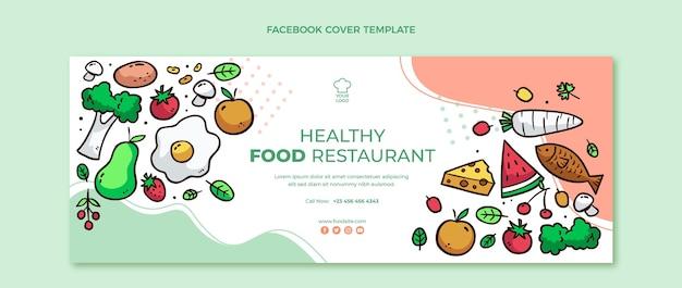 Capa do facebook de comida saudável desenhada à mão