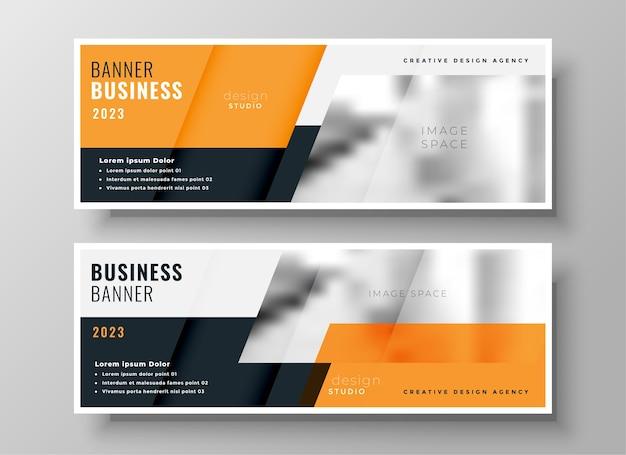 Capa do facebook de negócios laranja ou conjunto de cabeçalho de dois