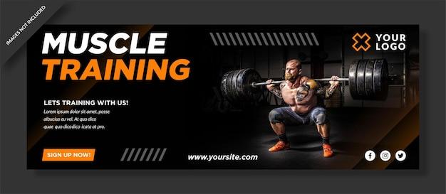 Capa do facebook de treinamento muscular e postagem nas redes sociais