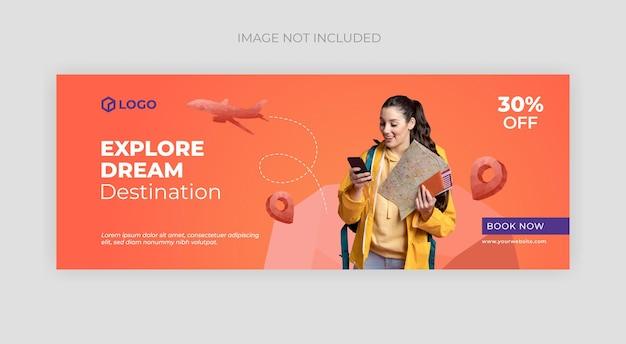Capa do facebook de viagens e modelo de banner da web