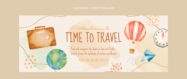 Capa do facebook de viagens em aquarela