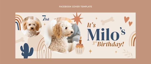 Capa do facebook do aniversário do boho desenhada à mão