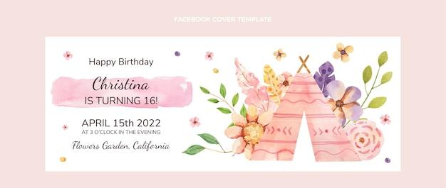 Capa do facebook do aniversário do boho em aquarela