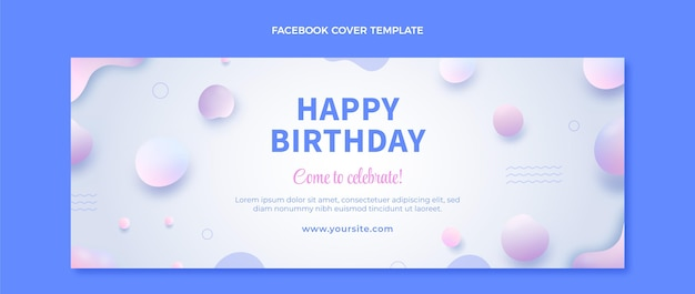 Capa do facebook do aniversário do gradiente abstrato fluido