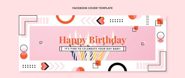 Capa do facebook do aniversário do mosaico do design plano
