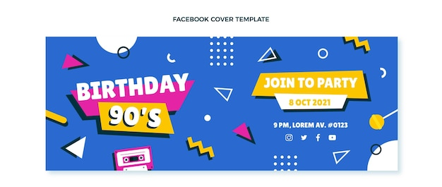 Capa do facebook do aniversário dos anos 90 desenhada à mão
