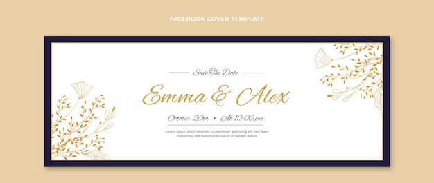 Capa do facebook do casamento de ouro realista