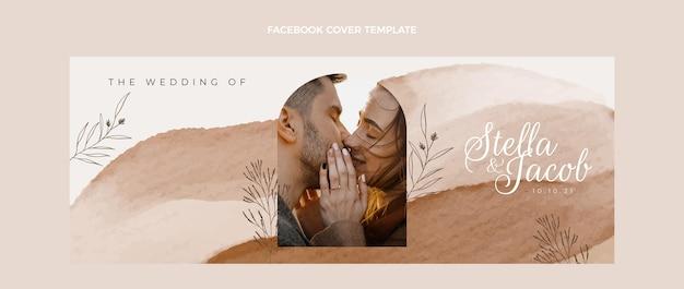 Capa do facebook do casamento desenhada à mão em aquarela
