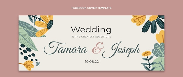 Capa do facebook do casamento desenhada à mão