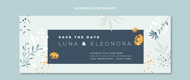 Capa do facebook do casamento desenhada à mão Vetor grátis