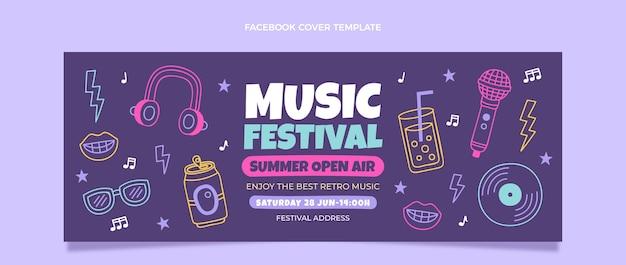 Capa do facebook do festival de música colorida desenhada à mão