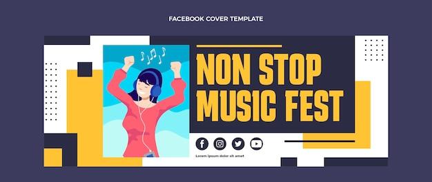 Capa do facebook do festival de música minimalista de design plano