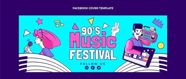 Capa do facebook do festival de música nostálgica desenhada à mão dos anos 90