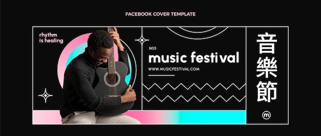 Capa do facebook do gradiente colorido festival de música
