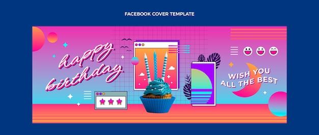 Capa do facebook do gradiente retro do aniversário do vaporwave