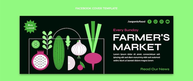 Capa do facebook do mercado do fazendeiro de design plano