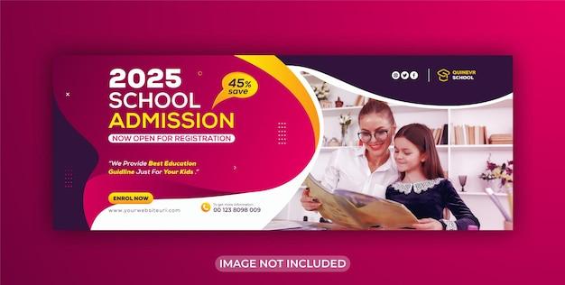 Capa do facebook e modelo de banner da web para crianças, educação escolar, mídia social