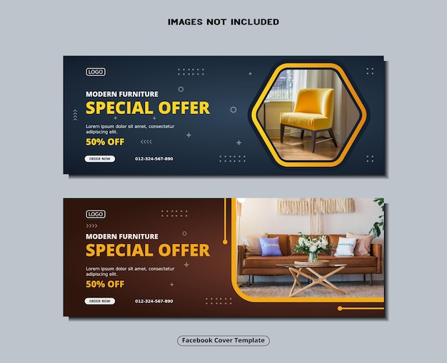 Capa do facebook para móveis e modelo de banner de mídia social