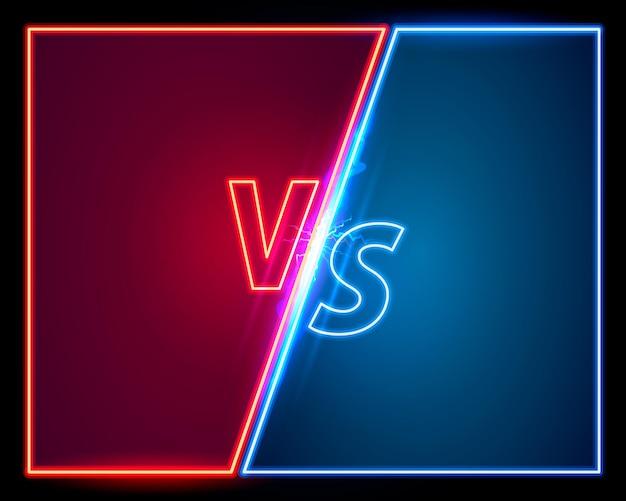 Capa do jogo versus, banner de néon vs esporte, conceito de equipe