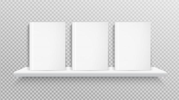 Capa do livro em branco, colocada na estante para o projeto.
