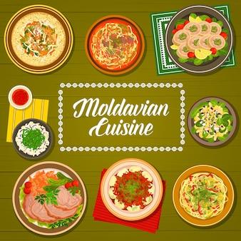 Capa do menu da cozinha da moldávia, pratos da comida da moldávia e jantares tradicionais ou almoços. cozinha da europa oriental, comida nacional da moldávia ou da moldávia de frango, porco e ganso, saladas e goulash