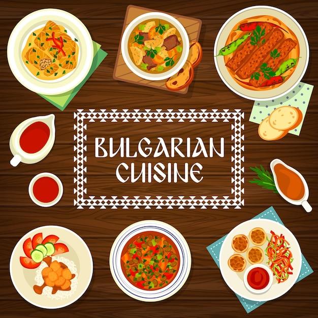 Capa do menu da culinária búlgara, pratos da bulgária e refeições tradicionais